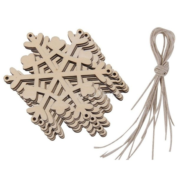 Urijk 10PCs Fashion Gift Christmas Wooden Carvings Window Accessories Snow Shape Home Christmas Decorations Navidad 2018 New Y18102609