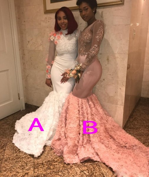 African Sexy Mermaid Prom Dresses Long Rose Fabrics Train Handmade Flowers Illusion Long Sleeves Evening Gowns Appliques Sexy Party Dress
