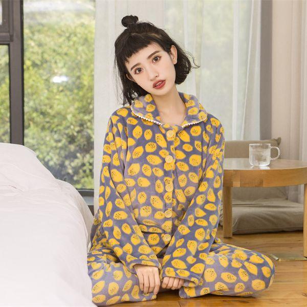 Kadın Pijama Setleri Fanila Karikatür Hayvan Evcil Sonbahar Kış Kalın Sıcak Uzun Kollu Kadın Sleepwears Suits