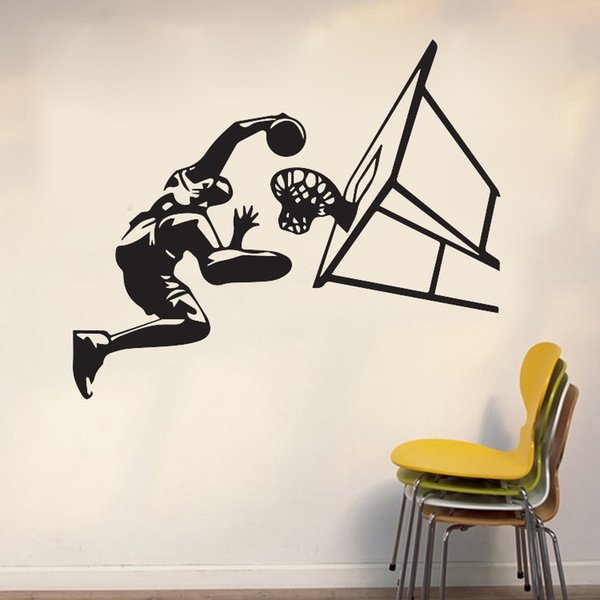 Basketball Dunk Sports Art Wall Stickers Waterproof Vinyl Decal Wallpapers Can Be Removable Home Bedroom Background Decorative Stickers Window Sticker