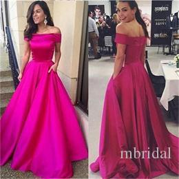 Elegant Off The Shoulder Prom Dresses 2017 New A Line Floor Length Sleeveless Zipper Simple Formal Evening Gown Party Dress Custom Made