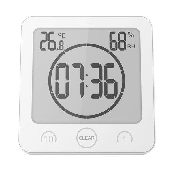 Digital Shower Alarm Clock Timer Waterproof Temperature Humidity Meter Bathroom Suction Clock