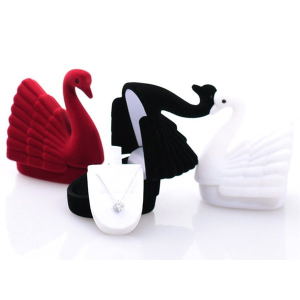 Black/White Cute Velvet Jewelry Storage Box Cygnet Swan Ring Earring Necklace Case-Display Box Packaging