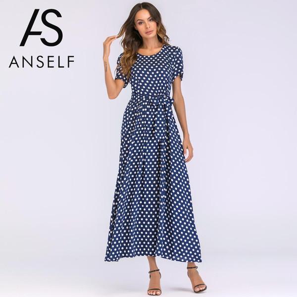 Plus Size 3XL 4XL 5XL Vintage Maxi Dress Women Bohemian Polka Dot Dress Short Sleeves High Waist A Line Long Robe female Gowns