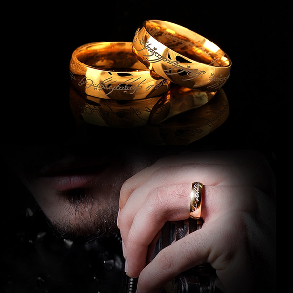 Lord One Rings Anillo de acero inoxidable One of Power Gold el Señor de los amantes del anillo Mujeres Hombres Joyería de moda al por mayor Envío gratuito