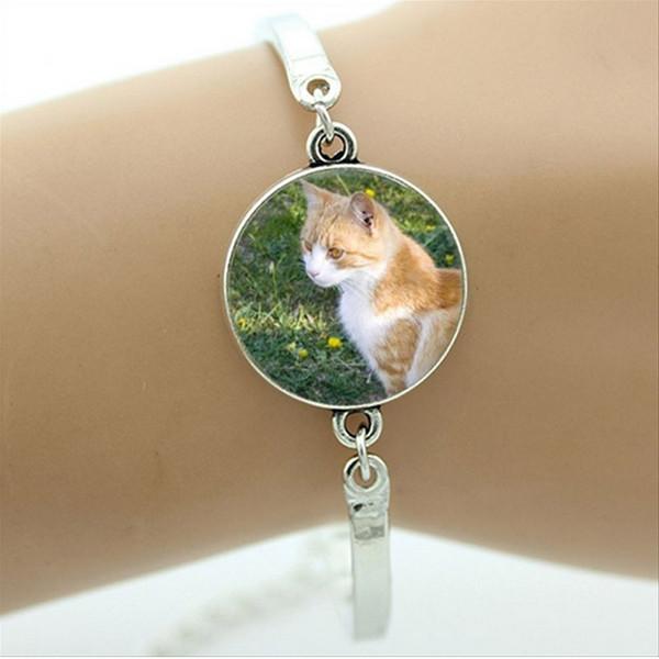 BR001 Keep Calm and Love Cats Bracelet belle citation charme charme amant de chat bijoux en verre Cabochon Art photo bracelet