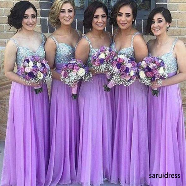 Elegant A-Line Brautkleider Light Purple Günstige Brautjungfernkleider Sparkly Pailletten Liebsten Top Chiffon Lange Kleider