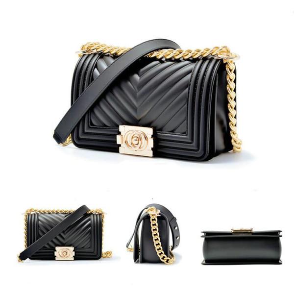 Women Fantastic Vogue Jelly Bag Lock Single Shoulder Bag Handbag Chain Leisure Joker Inclined Shoulder Bag