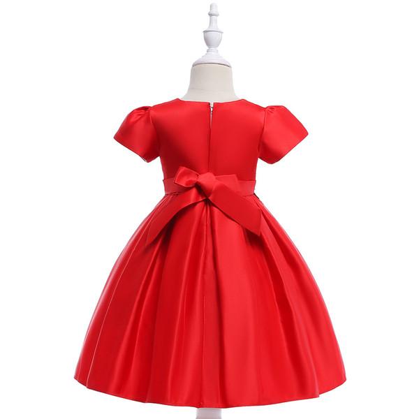 New Girls Short Sleeve Dress Flowers Beaded Princess Dress Big Boy Black Lace Belt Wedding Dress