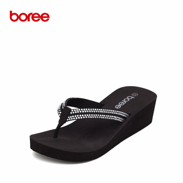 Boree Summer Women's Sandals Fashion Flip Flops Casual Shoes Bling Crystal Decor Non-Slip Thick Soled Beach Slippers SDL0038