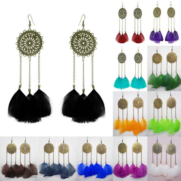Feather Earrings 12 Colors wholesale lots Cute Chain Round Charm Light Dangle Eardrop (Army Green Orange Deep Pink Brown Blue Purple)(JF258)