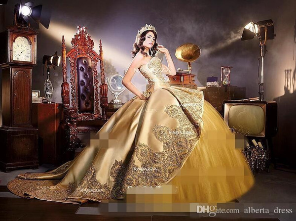 8d798b2fd94 Sparkly Gold Applique Ball Gown Quinceanera Dresses With Detachable Train  Sweetheart Sweet Bride Gowns For Reception Masquerade 2018