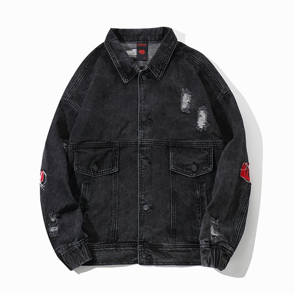 wholesale outlet good looking competitive price Men Black Denim Moto Jacket Cotton Outwear Distressed Hole Streetwear  Printing Patchwork Casual Coat Plus Size Top Jacket Mens Jackets Cheap From  ...