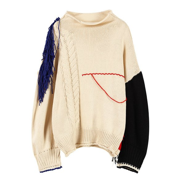 QLZW 2018 new autumn and winter women fashion clothes in stocks contrast colors tassels lantern sleeve knitting sweater WB64912S