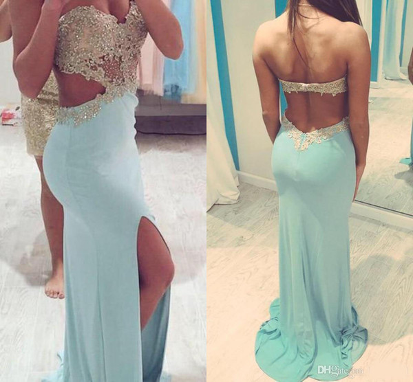 Luxury Sweetheart Prom Dresses 2018 Sexy Backless Chiffon Women Prom Gowns Beaded Embroidery High-split Prom Dresses For Gils Real Image