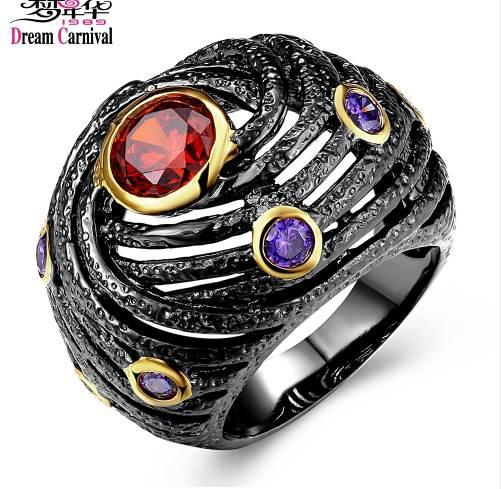 DreamCarnival 1989 Unique Engagement Ring for Women Black Gold Color Hip Hop Party Jewelry Red Purple Zirconia DC1989 Anillos