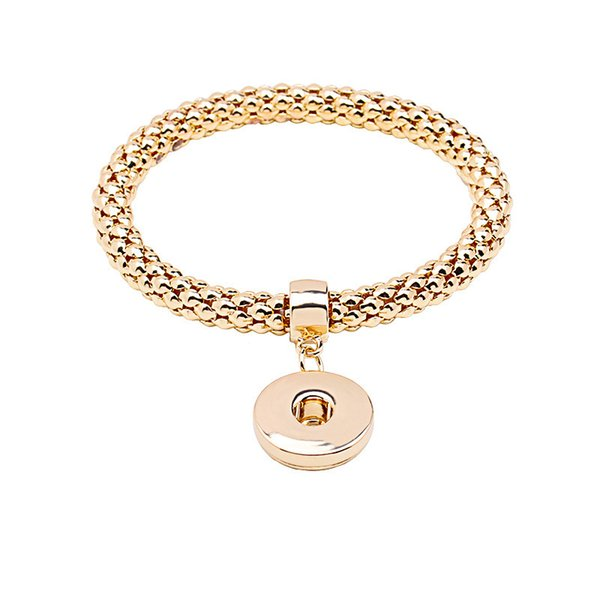 Gold Snap Bracelets With Snap Button Interchangeable Charms Bangle Bracelets With Bamboo Chain Snap Jewelry Supplies