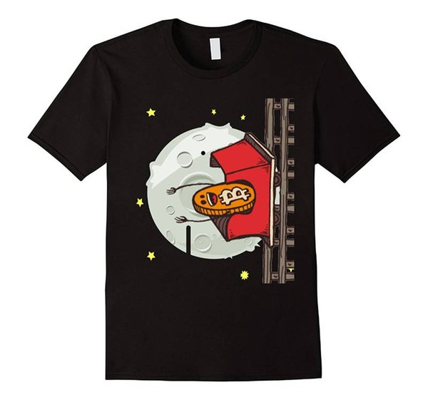 Tops T Shirt Homme O-Neck Short Bitcoin Rollercoaster Moon Graphic T Shirts For Men