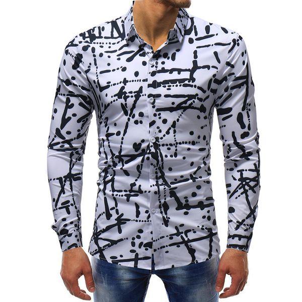 M-5XL Men Clothes 2018 New Four Seasons Moda uomo Stampa irregolare Business casual manica lunga Camisa Masculina camicia hawaiana