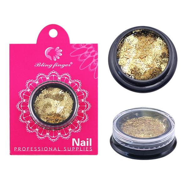 Más reciente Nail Art Beauty Metal Adornos de Oro Flor de Mariposa Etiqueta Engomada Del Clavo de Las Lentejuelas Rhinestones Decoraciones Nail Art Tool
