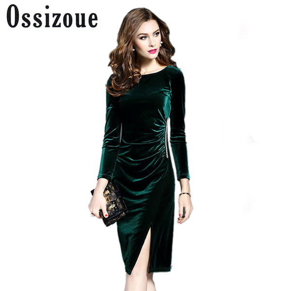 2019 Women Green Velvet Dresses Plus Size Elegant Autumn Winter Slimming  Fashion Casual Dress Party Dress Vestidos Femininos From Cyril03, $25.24 |  ...