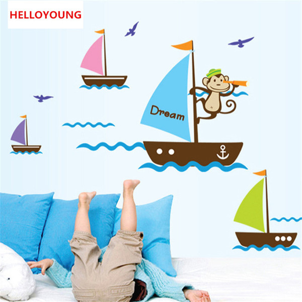 Blue Ocean seagull cartoon monkey dream Sail Boat Ship sticker wall decals for kids room baby wall stickers 3D