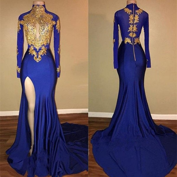 Sexy Mermaid Prom Dresses High Neck Long Sleeves Appliques Satin Side Slit Royal Blue Gold Split Evening Dresses Burgundy Grape Purple Navy