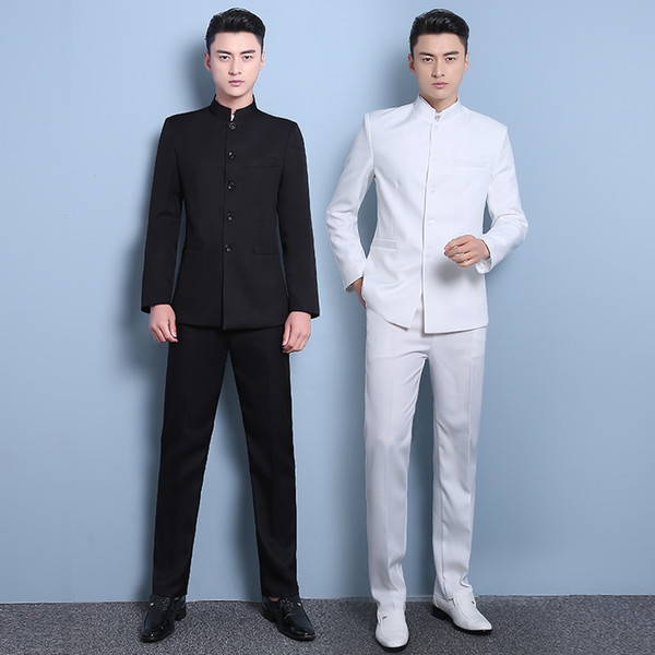 free shipping Chinese style thin mens stand tunic collar solid white color thin dress suit men stage show nation costume CSMS013