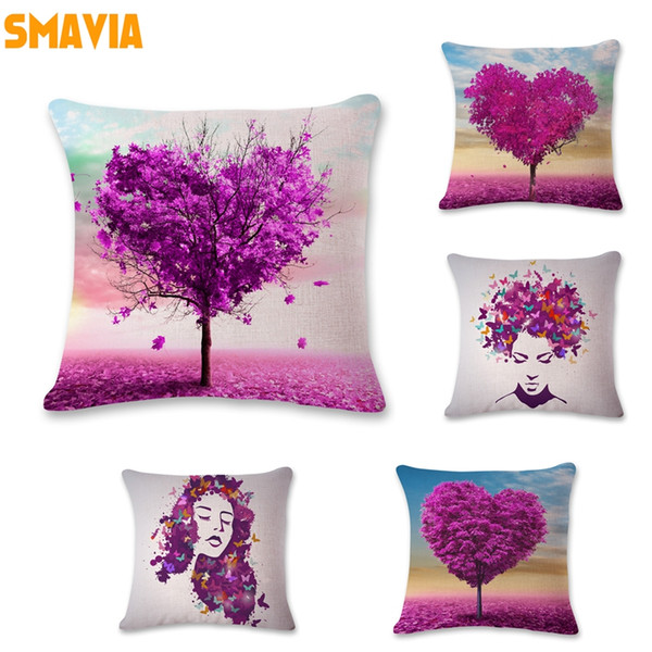 SMAVIA Purple Design Pillow Towel Trees Printed Pillowcase Character Portraits Butterfly Pillowcase Chair/Seat/Bed Pillow Cover