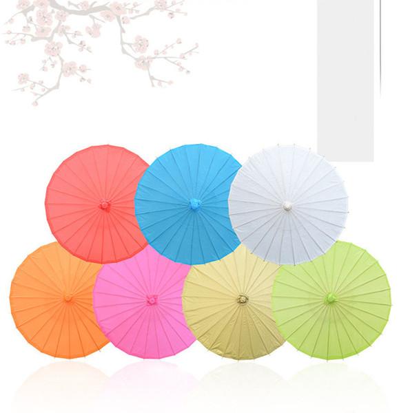 Papel de bambú Mango largo Craft Umbrella Sun Parasol Fiesta al aire libre Eventos Decoración 23.6 pulgadas / 60 cm de diámetro