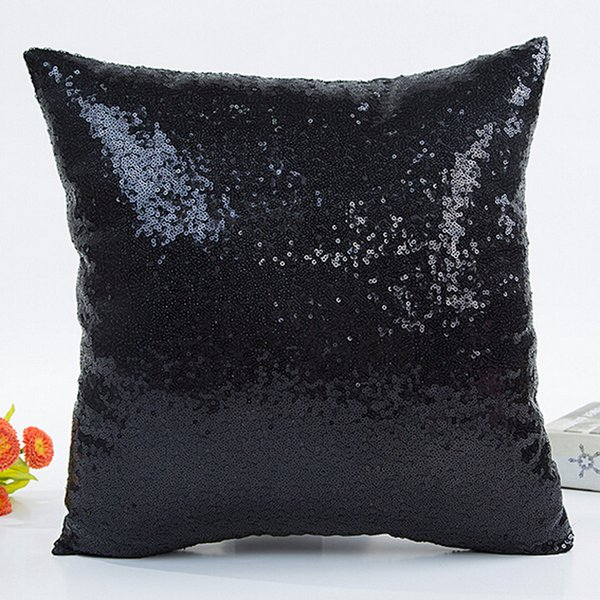 2017 Fashion Fresh Hot Selling Solid Color Glitter Sequins Throw Pillow Case Cafe Home Style Warm Comfortable