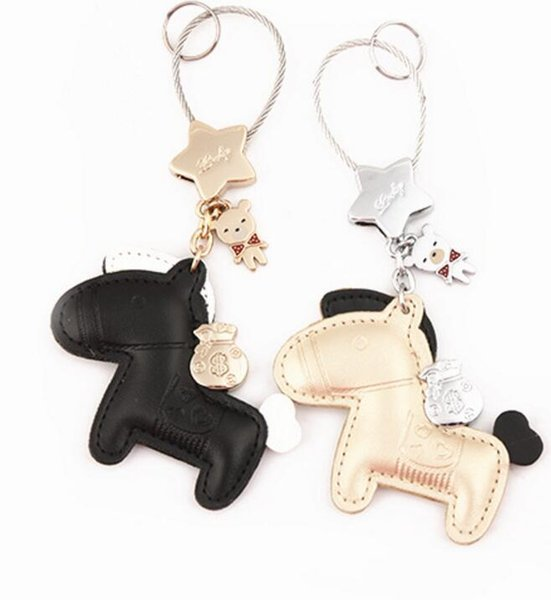 4 Colors Pony Leather Keychain For Lover Couples - Motorcycle Car Accessories Key Chain Holder Organizer Women Bag Charm Keychains Llavero