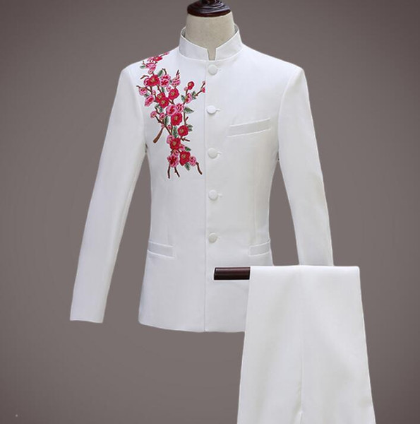 New arrival slim embroidery Chinese tunic suit men suit set with pants mens wedding suits formal dress men's groom + pant