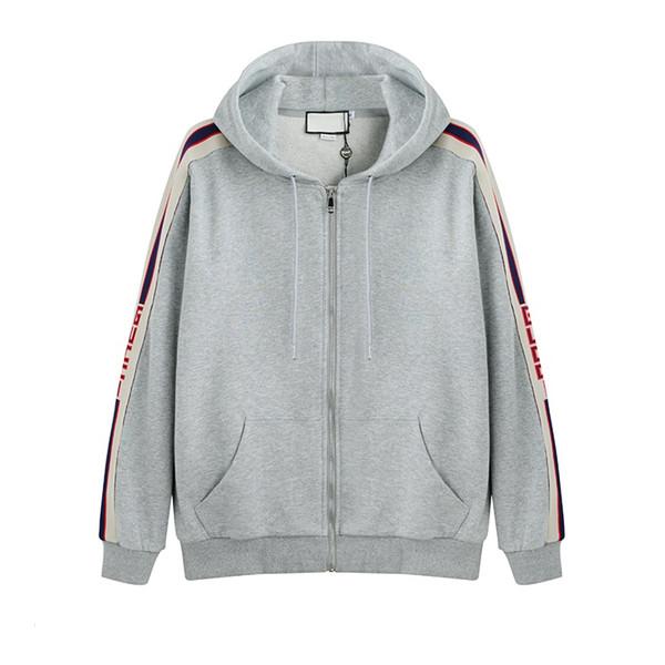 Grey Luxury Italy Designer Fashion Brand New SWEAT À CAPUCHE ZIPPÉ AVEC logo STRIPE Sweats à capuche pour homme