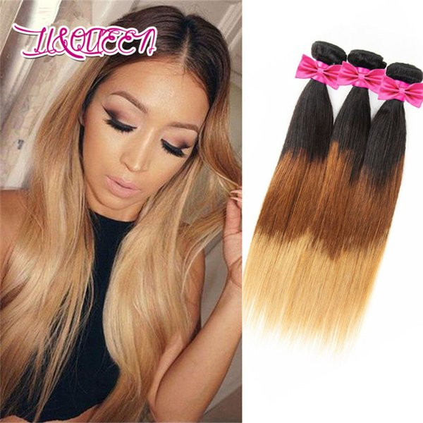Straight Ombre Hair Bundles Human Hair Weave Lot 1b-4-27 Color Beauty Three Tone Straight Weave Brazilian Hair Bundles Double Weft