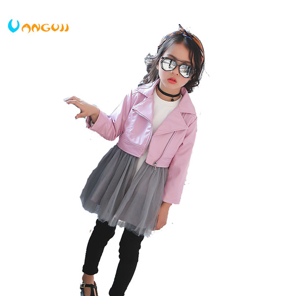2018 autumn winter hot children PU jacket, 2-7 year old fashion short diagonal zipper motorcycle leather jacccket with dress