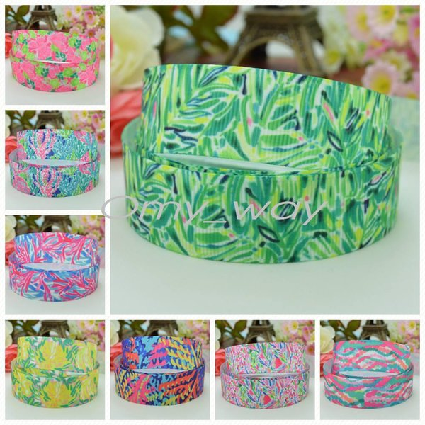 """7/8""""22mm Lilly flowers butterfly Printed grosgrain ribbon hairbow party decoration DIY handmade wholesale OEM 50YD"""