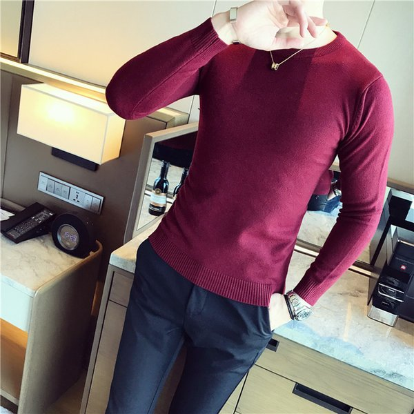 5 Solid Color Slim Fit Sweater Men Thin Sweater Masuclina Round Neck Pull Homme Korean Men Fashion Black White Red Navy