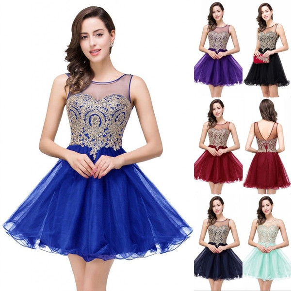 best selling 2019 Sheer Neck Little Black Short Knee Length Homecoming Dresses Real Image Gold Appliques Ruffles Mini Prom Cocktail Dresses CPS362