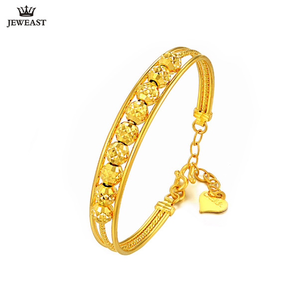 24K Pure Gold Bracelet Real 999 Solid Gold Bangle Simple Fashion Beautiful Bead Trendy Classic Party Jewelry Hot Sell New 2018