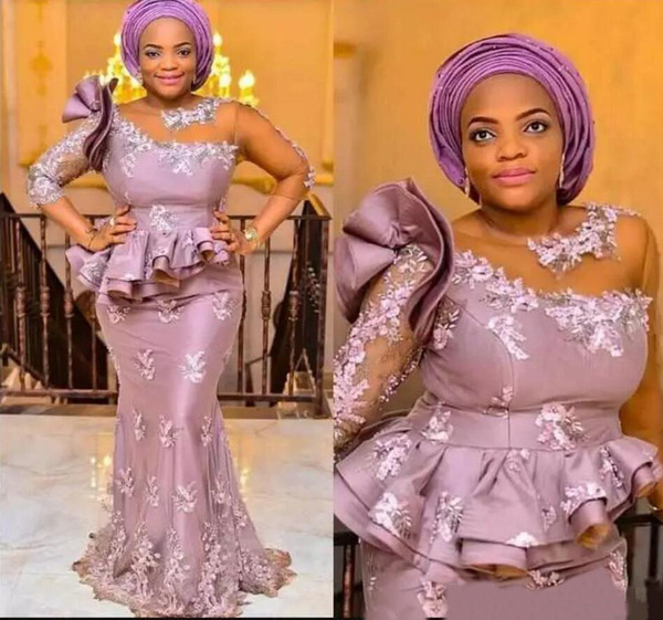 Sheer Neck African Long Sleeves Abendkleider Tiered Peplumn Mutter Kleider für Braut Gast Zipper Up Zurück Formale Abendkleider Plus Größe