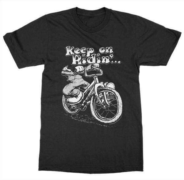Mejor camiseta masculina Mantener en Ridin 'Camiseta Biker Pedal Ride Ciclo Engranaje Rueda Silla de montar Bicicleta Carrera Verano Camiseta