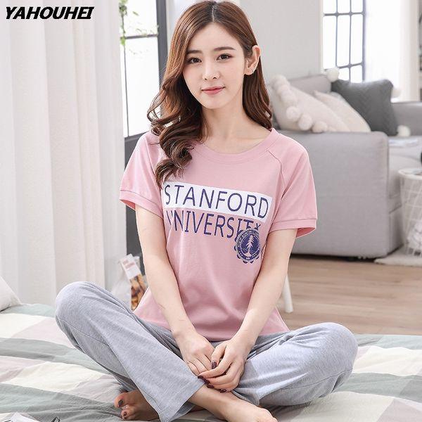 Plus Size Cotton Pajamas Sets for Women 2018 Summer Short Sleeve Girls Cute Pyjamas Long Pants Sleepwear Homewear Home Clothing
