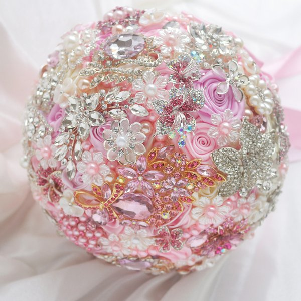 IFFO Nem custom bridal bouquet, pink wedding bride holding flowers, bouquet brooch, diamond pearl jewelry made of ribbons