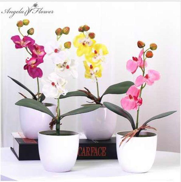 1 Takım ile phalaenopsis saksı yapay orkide çiçek köpük yaprağı ve ev için plastik vazo simülasyon çiçek dekorasyon masa