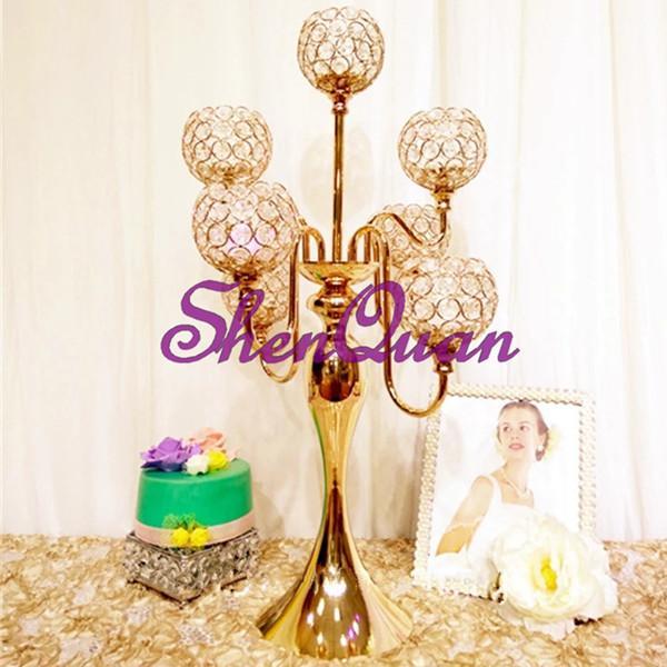 семейный стеклянный подсвечник / канделябры центральные свадебные, оптовые стеклянные обетные подсвечники, свадебные украшения сцены высокая ваза