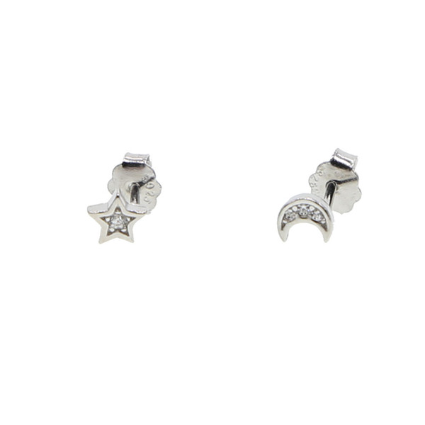925 sterling silver dainty design delicate minimalist moon star studs multiple studs adorable girl silver earring