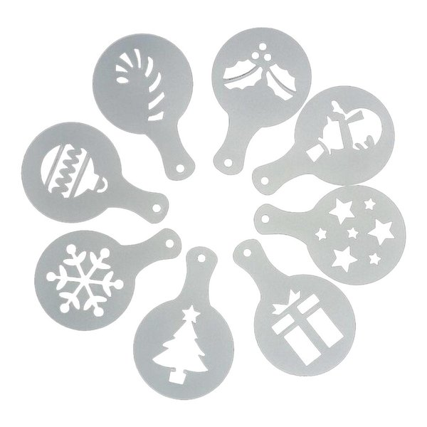 Newest 8pcs/set Christmas Tree Cake Stencil Wedding Party Cake Cookie Mould Cupcake Decoration Template