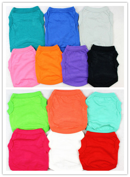 Free shipping pet dog puppy T shirt solid color cat summer clothing clothes 30pcs/lot XS-XXL