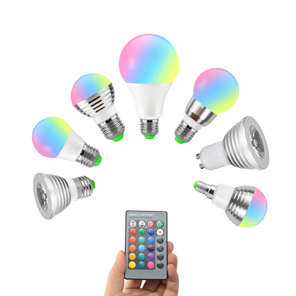3W 5W 7W 10W RGB light Bulb Bubble Ball Lamp E27 E14 GU10 AC85-265V Dimmable Magic Holiday RGB Lighting+Remote Control